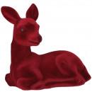 Plastic fawn tasko, flocked, L21cm, red